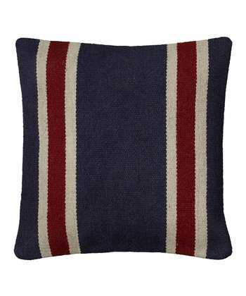 Navy & Red Stripe Wool-Blend Throw Pillow