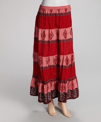 Red Stripe Maxi Skirt - Women