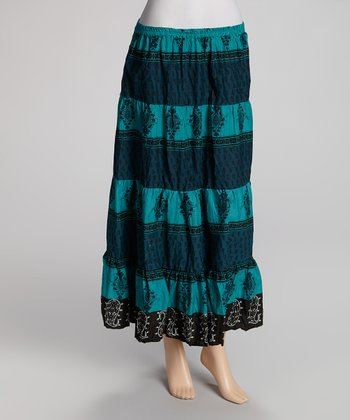 Teal Stripe Maxi Skirt - Women