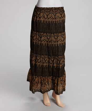 Black & Brown Maxi Skirt - Women
