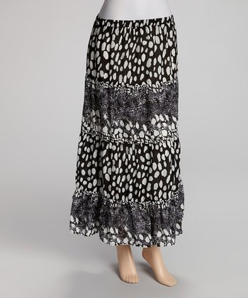 White & Black Maxi Skirt - Women