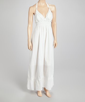 White Shirred Maxi Dress