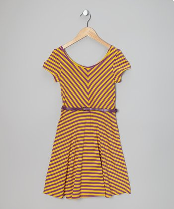 Purple & Yellow Stripe Cap-Sleeve Dress - Girls