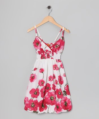 Fuchsia Poppy Bubble Dress - Girls