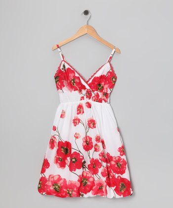 Red Poppy Bubble Dress - Girls