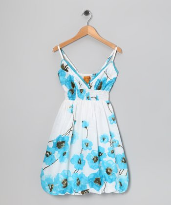 Turquoise Poppy Bubble Dress - Girls