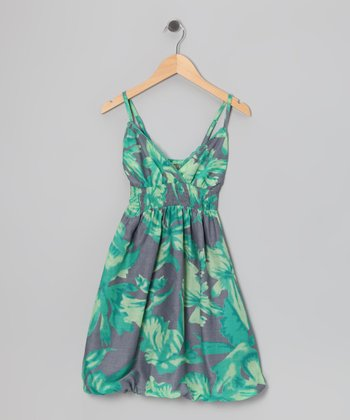 Green Tropical Bubble Dress - Girls