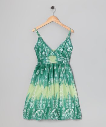 Green Tribal Bubble Dress - Girls