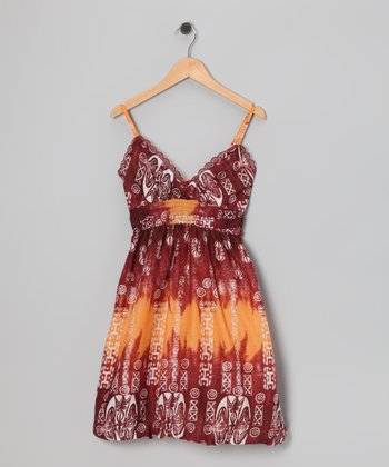 Red Tribal Bubble Dress - Girls
