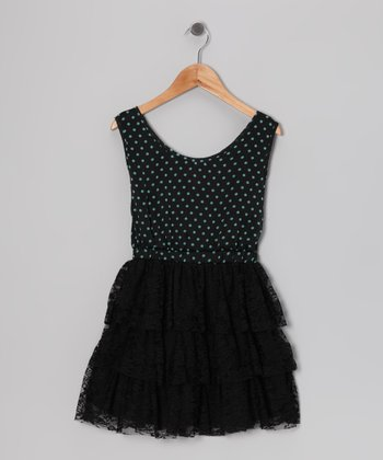 Teal & Black Polka Dot Lace Ruffle Dress - Girls