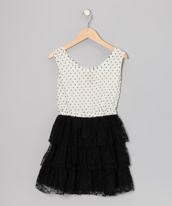 White & Black Polka Dot Lace Ruffle Dress