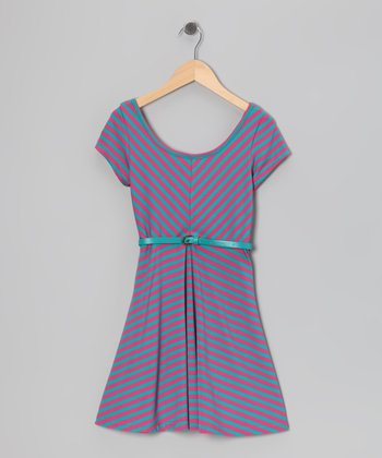 Fuchsia & Teal Stripe Cap-Sleeve Dress - Girls