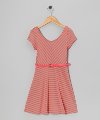 Fluorescent Orange Stripe Cap-Sleeve Dress - Girls