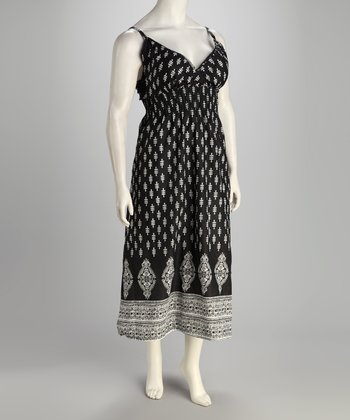 Black & White Flower Plus-Size Surplice Dress