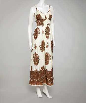 Brown & Natural Sleeveless Surplice Maxi Dress