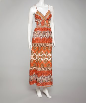 Orange & Brown Sleeveless Surplice Maxi Dress