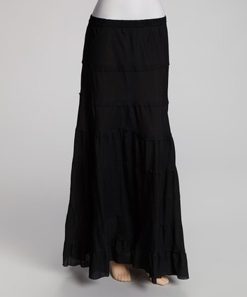 Black Tiered Peasant Skirt - Women