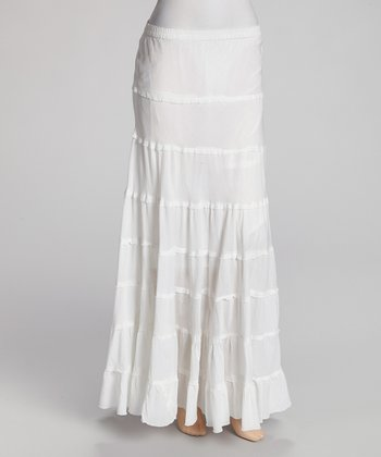 White Tiered Peasant Skirt - Women