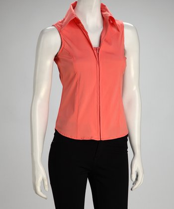 Mandarin Sleeveless Zipper Top