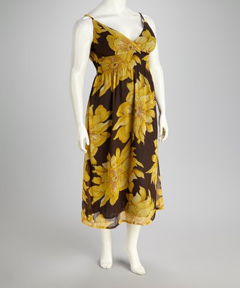 Yellow & Brown Floral Dress