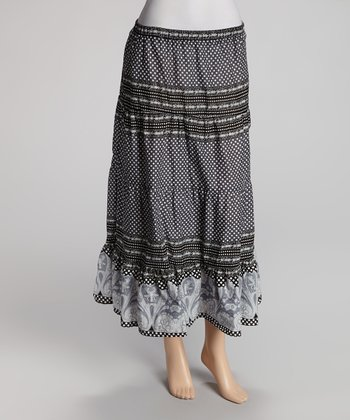 Black & Gray Maxi Skirt - Women