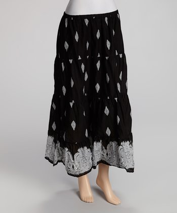 Black & White Peasant Maxi Skirt - Women