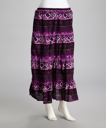 Black & Purple Maxi Skirt
