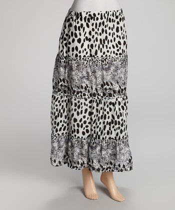 Black & White Dot Maxi Skirt - Women