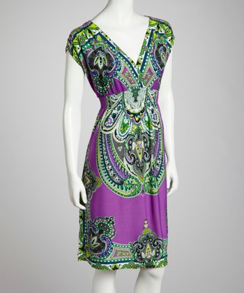 Green & Purple Shirred Surplice Dress