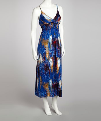 Blue Brushstroke Shirred Maxi Dress