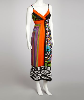 Orange Modern Shirred Maxi Dress