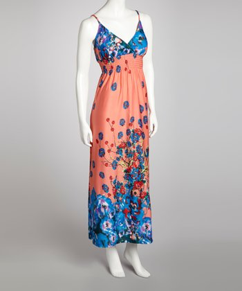 Coral Floral Shirred Maxi Dress