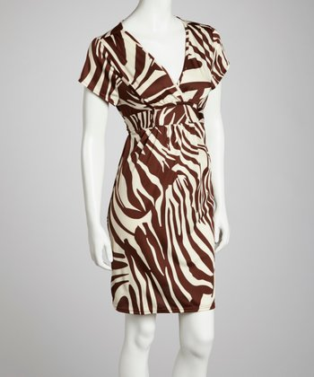 Brown Zebra Surplice Dress