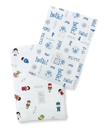 Disney's 'It's a Small World' & True Blue 'Hello' Burp Cloth Set