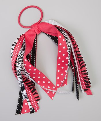 Hot Pink & Black Zebra Ribbon Hair Tie