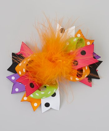 Green & Orange Polka Dot Fur Bow Clip