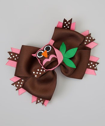 Hot Pink & Black Owl Bow Clip