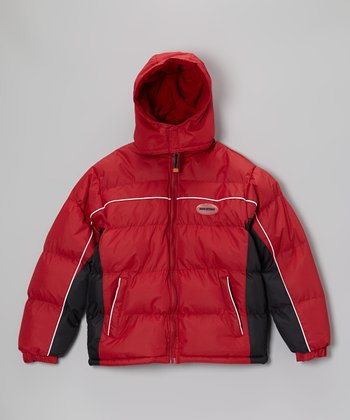 Red & Black Bubble Jacket - Boys