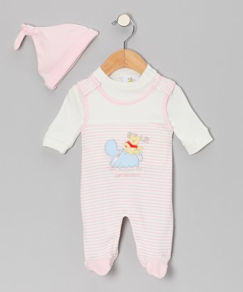 Pink Bear Footie Set
