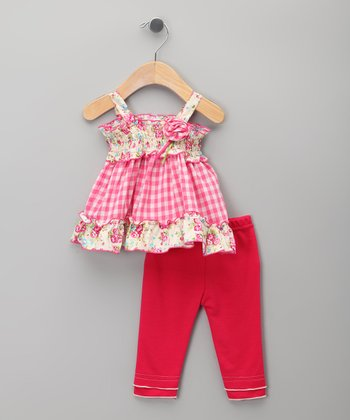 Pink Floral Checkerboard Tunic & Leggings - Infant