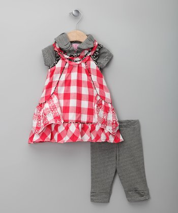 Red & Gray Checkerboard Jumper Set - Infant