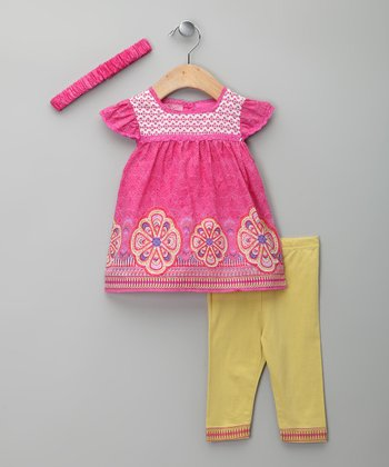 Pink & Lima Floral Embroidered Dress & Leggings - Infant