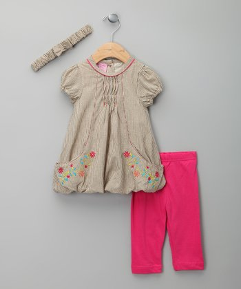 Khaki & Fuchsia Dress Set - Infant