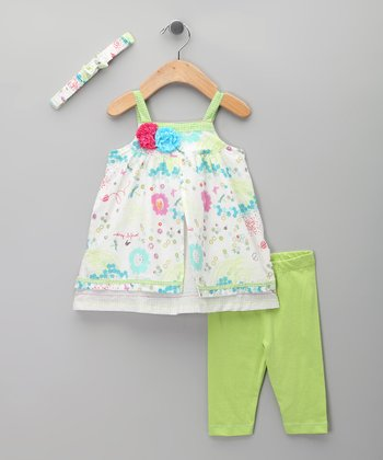 Lime Floral Dress Set - Infant