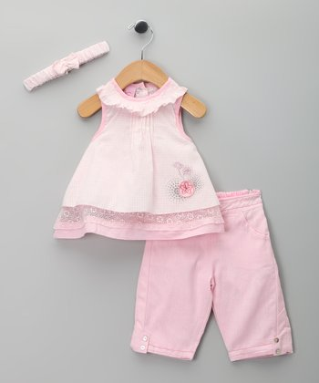 Pink Floral Eyelet Dress Set - Infant