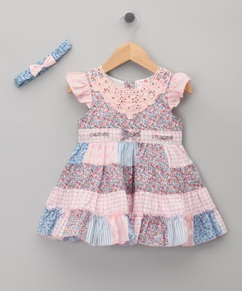 Pink Floral Bow Dress & Headband - Infant & Toddler