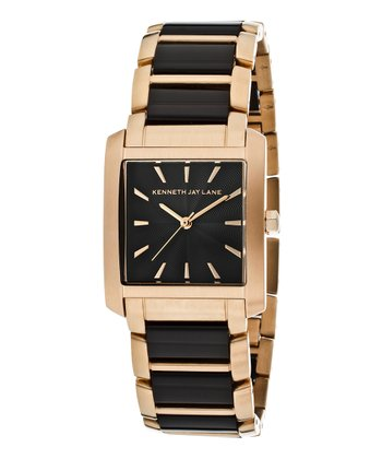 Black & Rose Gold Textured Stainless Steel Watch