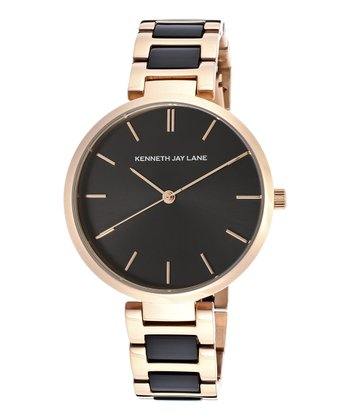 Black & Rose Gold Stainless Steel Watch