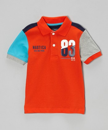 Tomato Color Block Polo - Boys