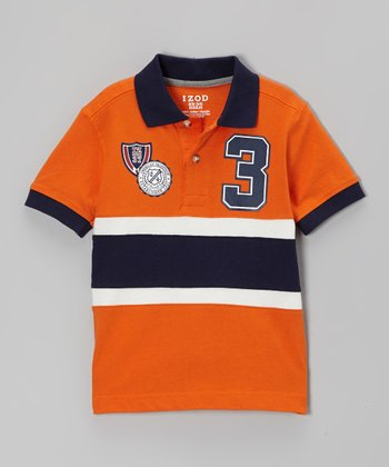 Orange & Navy '3' Polo - Boys
